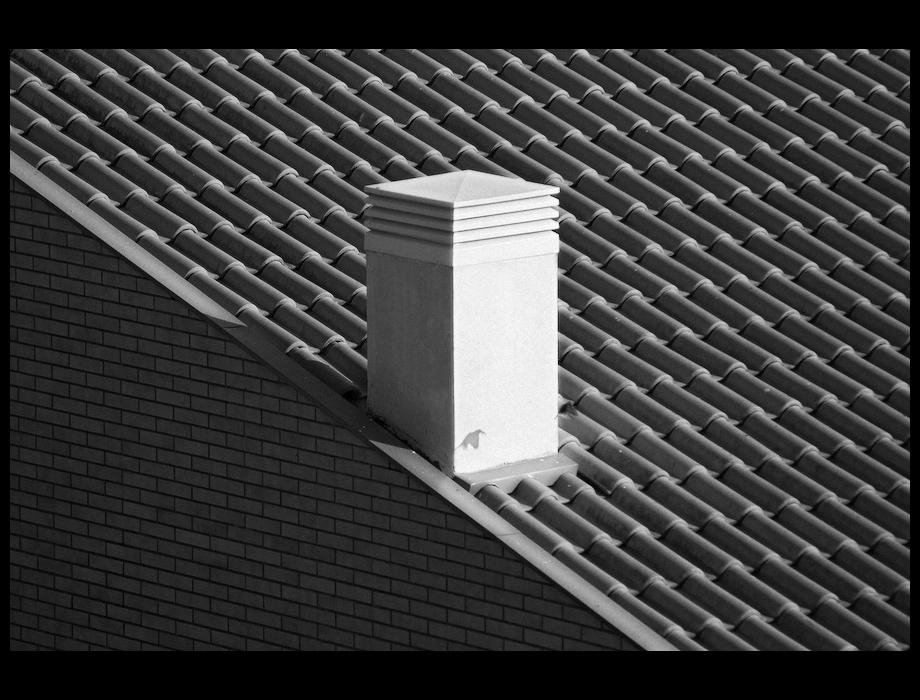 Chaminé, telhado, tijolo, padrões e um pardal