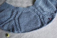 Blue sweater in progress