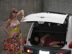 i put them in the trunk (kittiegeiss) Tags: pink girls yellow grey patterns trunk handbag prisoner walkofshame iworethisdresstwodaysinarow yesherfeetaretiedup whatisthiscarcalled