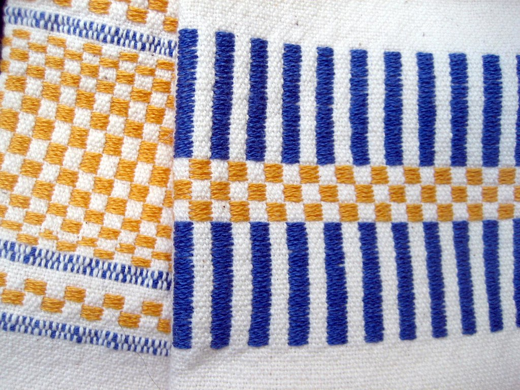 Weaving Class Handtowels - Detail of Monks Belt borders