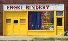 Engel Bindery (felixtcat) Tags: blue red sign yellow angel colorful doors purple noparking kansascity storefront curtains engel garagedoor embossing bindery yellowdoor southwestboulevard foilstamping southwestblvd engelbindery biblethesis custombinding yellowgaragedoor