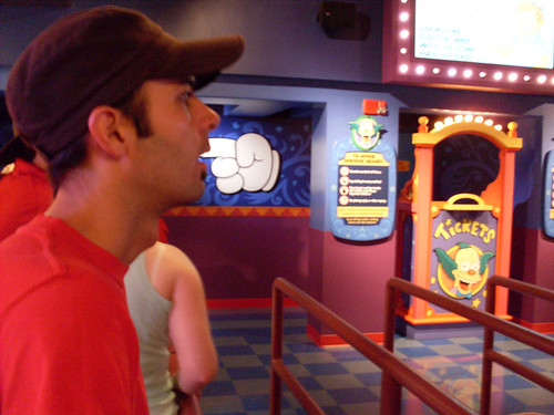 Jon waiting in line for the Simpsons Ride by Kablamo.