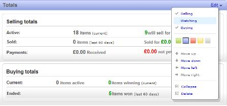 My eBay customisation options