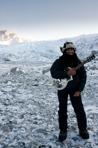 Suzan-Lori Parks on a glacier in Greenland