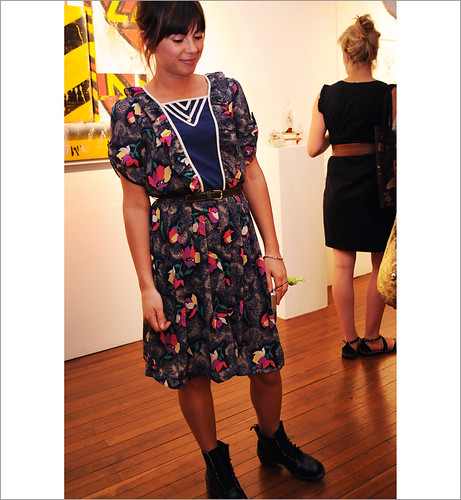 Street Fashion Sydney, Medium Rare Gallery, Floral Print Dress & Work Boots