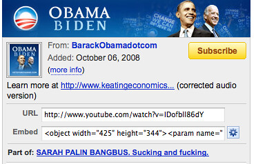Snapshot of Obama YouTube page