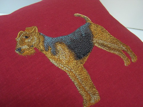 Airedale embroidered pillow 2
