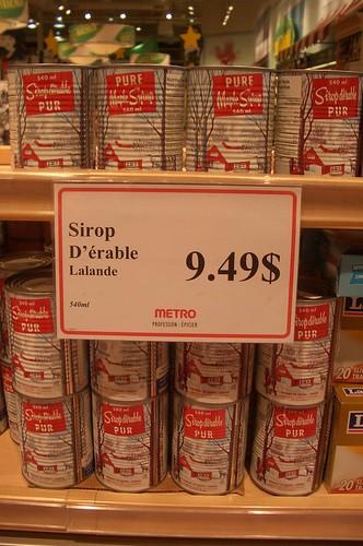 prix sirop érable decembre 2008