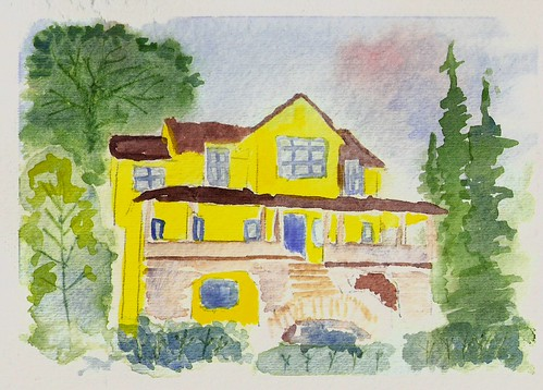 Beach House in watercolor
