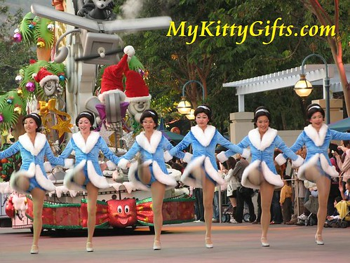 Hello Kitty's View of Can-can Dance in 'Let it Snow' Christmas Parade, Hong Kong Disneyland