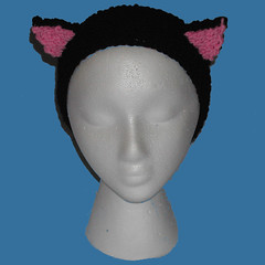 Black Cat Knit Headband Earwarmers with Kitty Ears (catlady_2010) Tags: anime cat punk cosplay emo knit kitty scene pixie headband earwarmers