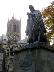 Tennyson statue outside Lincoln Cathedral