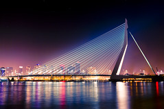 Erasmus Bridge , Rotterdam (Philippe Lejeanvre) Tags: city bridge night geotagged lights iso100 rotterdam pentax thenetherlands f45 pont nuit 2009 ville lumires erasmusbrug meuse fleuve 8s erasmusbridge coolshot 26mm anawesomeshot flickraward goldstaraward pentaxk20d 39mmequiv35mm micarttttworldphotographyawards micartttt philippelejeanvre