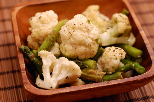 Roasted Cauliflower and Asparagus with Lemon and Garlic