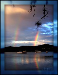 Double whamy (Lady Jayne ~) Tags: 2 lake newcastle boats rainbow australia explore nsw thumbsup pfosilver blackallspark