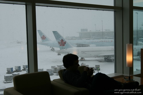 Waiting during Vancouver snowstorm