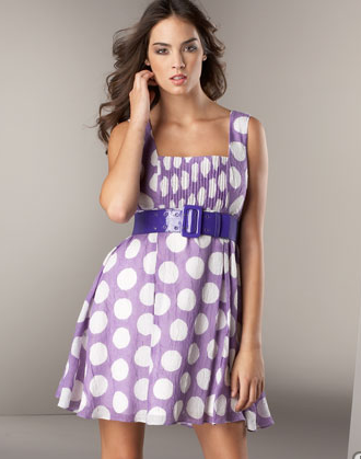 Belted Polka Dot Dress -  Neiman Marcus :  polka dot purple sleeveless white