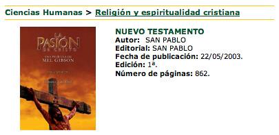 Captura de La Biblia con la portada de La Pasión según Mel Gibson