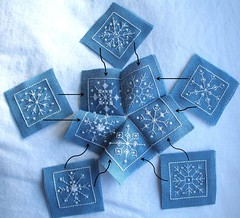 putting-it-together (tintocktap) Tags: snowflake blue white beads crossstitch stitch handmade sewing craft blackwork