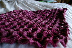 shetland triangle shawl, unblocked