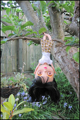 206/365 Hanging (sozzielou) Tags: pink flowers blue white tree green up leaves yellow garden way eyes doll branch glare arms legs upsidedown branches tshirt fringe skirt front wrong owl stare hanging blythe mjs bent brunette bangs maryjanes inverted goldie tee takara allgoldinone edna licca matte crossed facing hangingbasket bl luxielou 365blythe