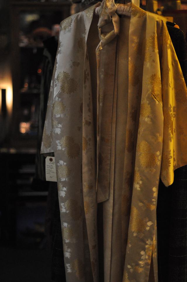 gold kimono robe