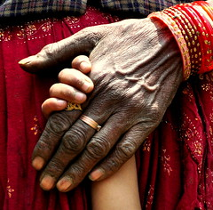 Never let go (bangdiwalas) Tags: old people india love kids rural children mom parents child young mother warmth son parent caring care wrinkles northindia holdhands uttranchal lphumble