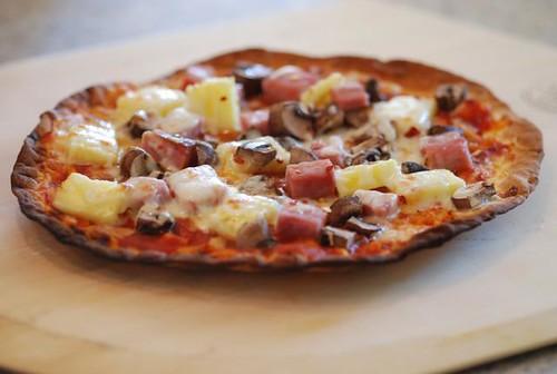 Ham, Pineapple, and Mushroom Pizza