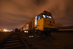 Night Train (Andrew Goldstraw) Tags: light orange night clouds train flash engine loco strobe goldeeno andrewgoldstraw