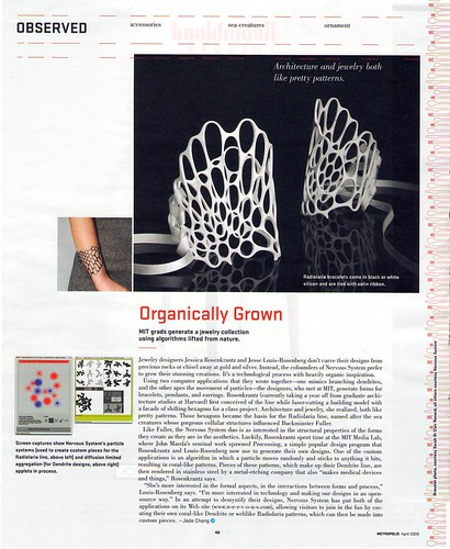 """Nervous System in Metropolis Magazine : """"jewelry from the tech set"""