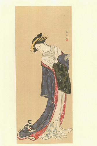 Una dama y un gato - artista Shunsshô Katsukawa