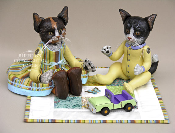 Fiona the Calico Kitten, Ziggy the Tuxedo Kitten, Original One-of-a-kind Folk Art Dolls by Elizabeth Ruffing