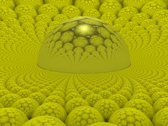 Playing with sphere packing and sphere inversions (fdecomite) Tags: reflection yellow spiral fcc geometry packing hexagonal sphere math emergence inversion povray