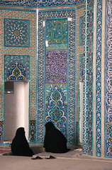 Interior, Jameh Mosque, Yazd (**El-Len**) Tags: travel blue geometric tile iran hijab persia mosque gettyimages yazd tilework