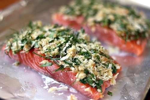 Salmon with lime and herb crust - uncooked