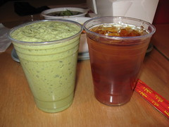 Rickshaw Dumpling Bar: Green tea milkshake and Iced green tea with mint