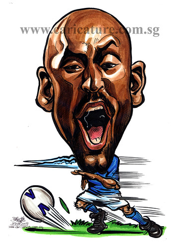 Caricature of Nicolas Anelka colour watermark
