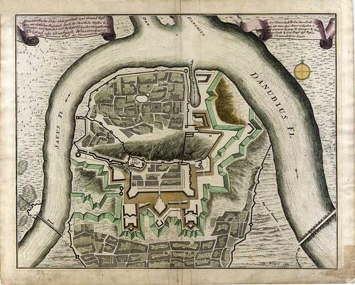historic belgrade (beograd) map ~1715