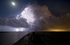 Lightning on Galveston Bay (OneEighteen) Tags: night port harbor marine ship houston maritime thunderstorm lightning nautical pilot galvestonbay houstonshipchannel 3000v120f 1000v60f
