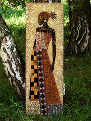 Black Princess - Hommage a  Jacques Leconte (stiglice - Judit) Tags: mosaic mixedmedia wallart blackprincess mozaik