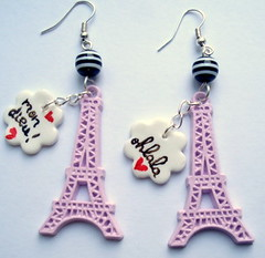 PARIS JE TAIME (10) (PETIT  PORTERbefore Hand) Tags: paris love funny stripes eiffeltower kitsch pop kawaii earrings ukdiycraft