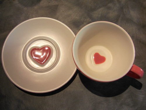pink heart cup and saucer