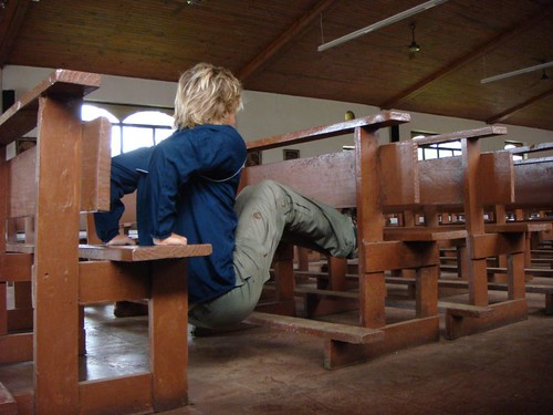 Sit-ups in the church in Hanga Roa on a rainy day...