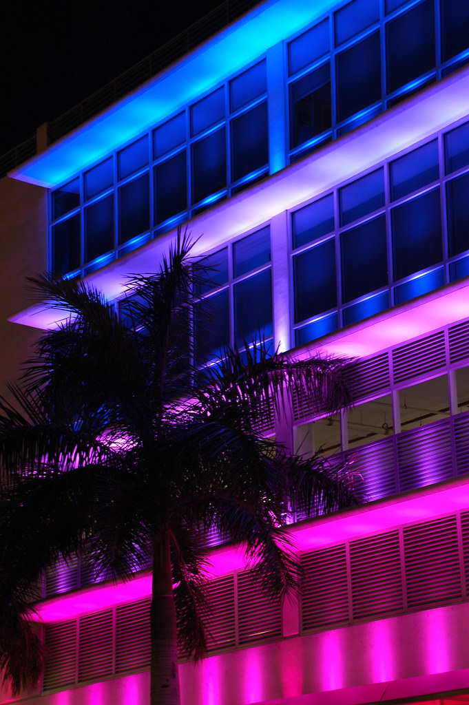 Colorfully Lighted Fashion Store in South Beach