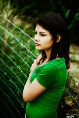 Natasha (The Djudju Beast) Tags: woman plant flower green nature girl beautiful beauty field fence 50mm bokeh cotton 18 leaning lean