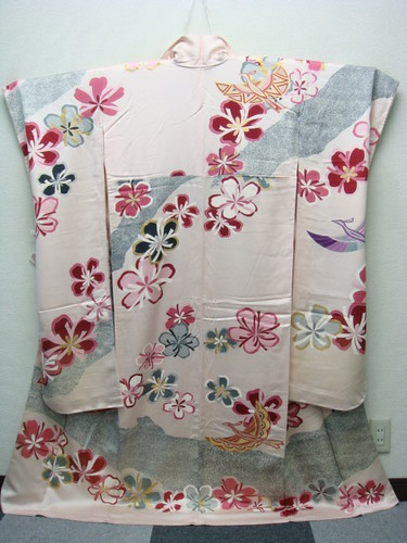 Stylized flowers and birds furisode 2