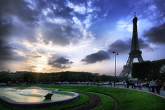 French Sunset (` Toshio ') Tags: travel sunset sky people sun paris france architecture clouds french europe european eiffeltower culture tourists toureiffel champdemars hdr europeanunion 1889 toshio anawesomeshot impressedbeauty superaplus aplusphoto goldstaraward