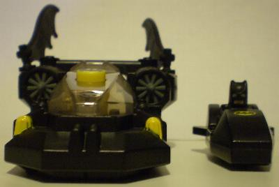 Front view of batboat and mini ski boat