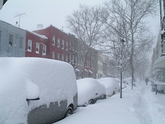 lorimer street covered in snow, greenpoint, brooklyn