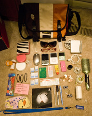 What's In My Bag! 9.30.08 I (zebra.paperclip) Tags: world home sunglasses bike pen trek hair bag subway mouse glasses book mac nikon sock chelsea ipod blackberry whats wallet treats stickers clips brush case note cap commute usb contacts ear zebra pro headphones change roll buds sharpie whatsinyourbag curve carmex timbuk2 whatsinmybag gel theoffice charger rockford paperclip medication optics retainer hie d60 trekworld zebrapaperclip